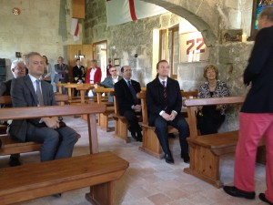 Saint George's Chapel, Isla de Rey, visited by British delegation.